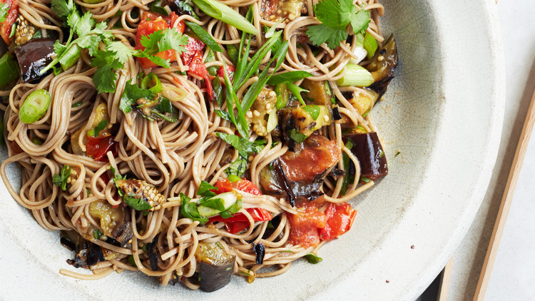 Soba Salad with Grilled Eggplant and Tomato