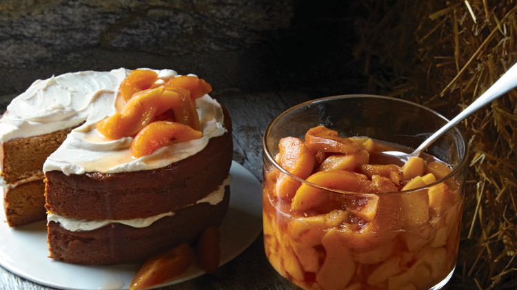 pumpkin layer cake with quince compote