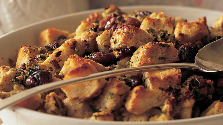homemade stuffing in a serving dish