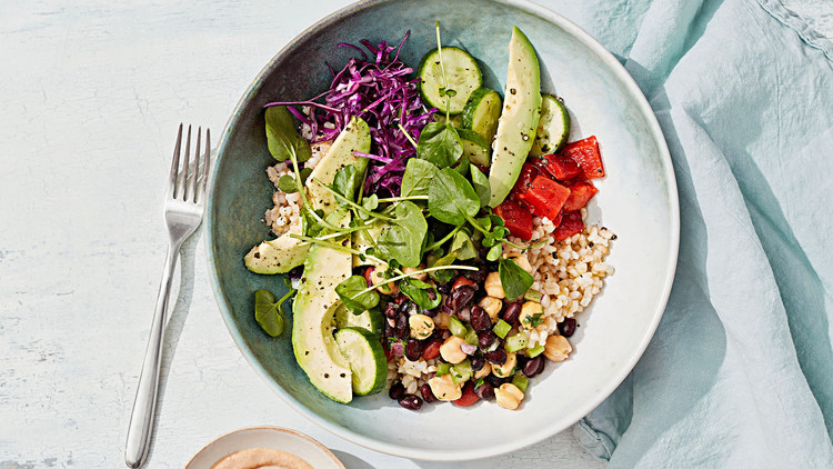 Rice-and-Bean Salad Bowl with Tahini Sauce