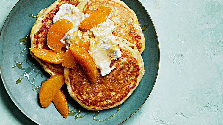 ricotta-cornmeal pancakes with oranges