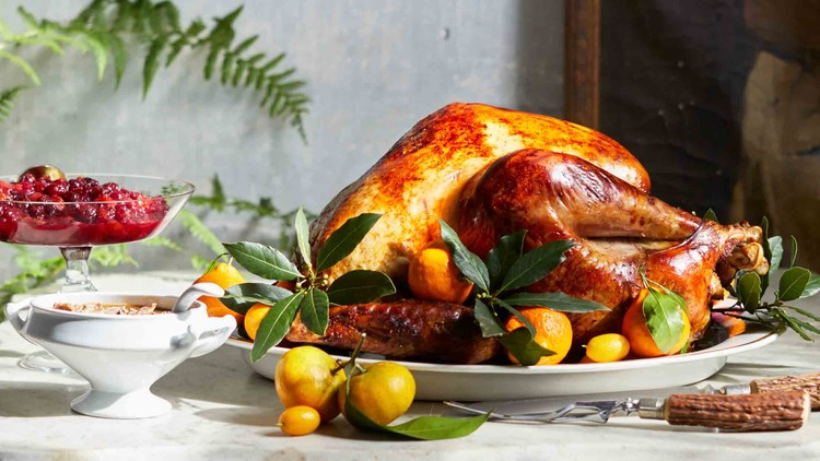 thanksgiving tablescape with roasted heritage turkey