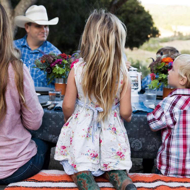 girl ranch life picnic table