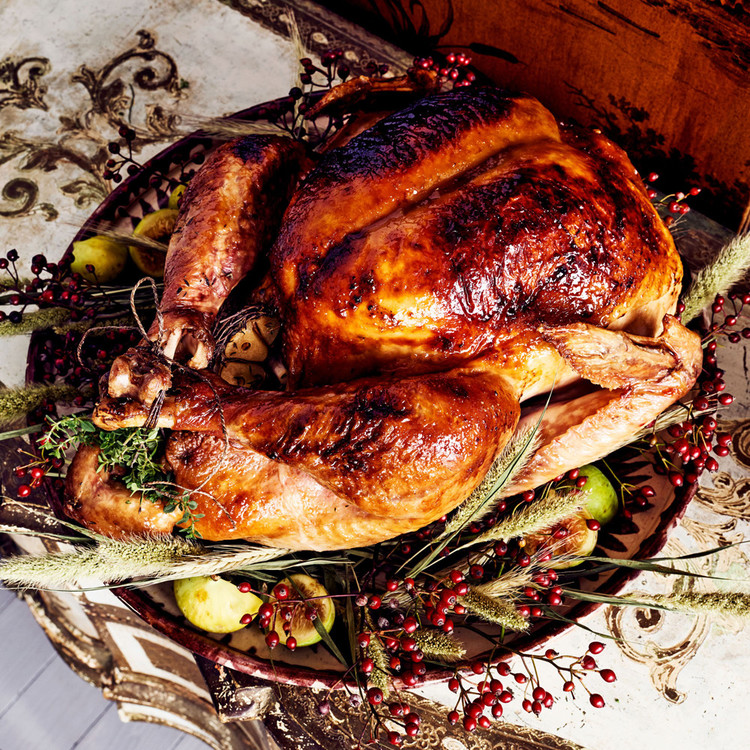 turkey with garnish of wheat and berries