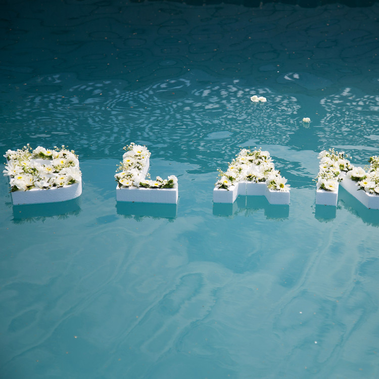blooming en blanc party floating letters