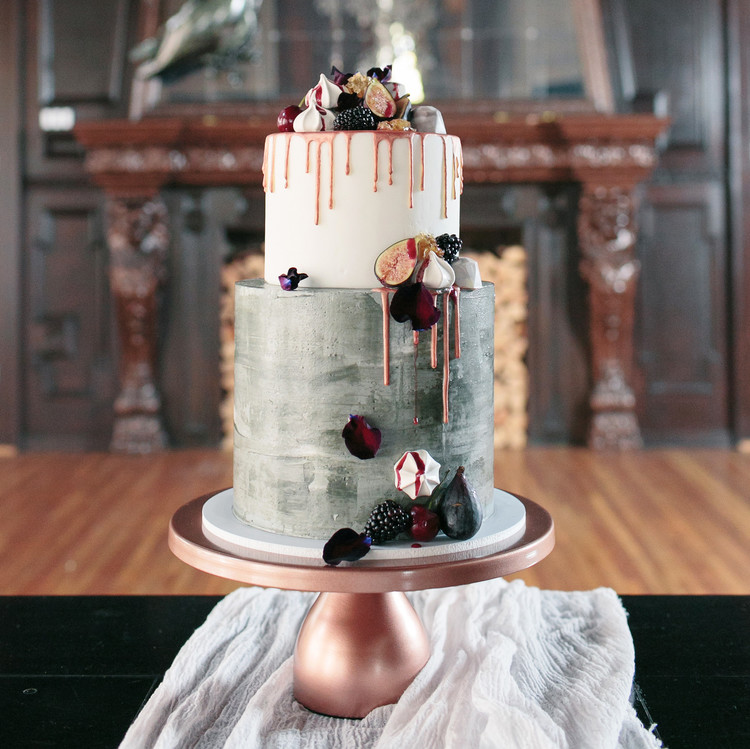 halloween rose gold dinner party cake birds dessert