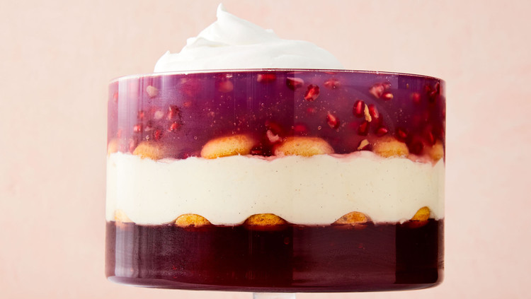 pomegranate coconut trifle with whipped cream