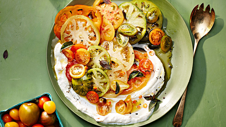 tomato salad with chile yogurt