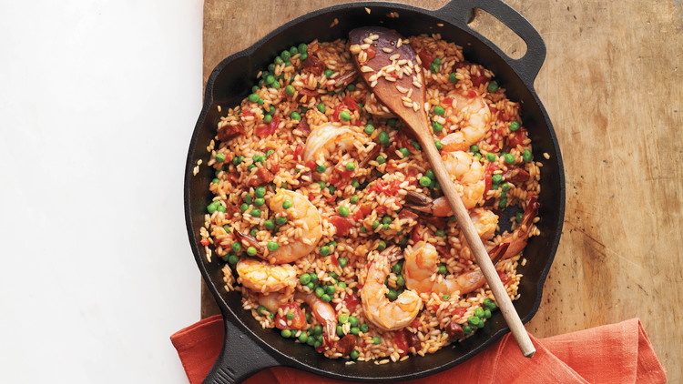 Quick Skillet Paella with Shrimp and Tomatoes