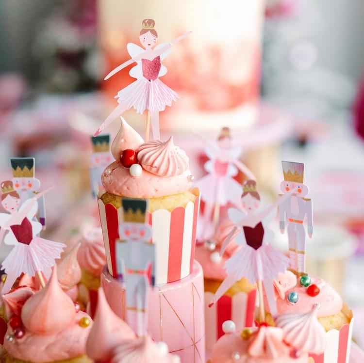 nutcracker christmas party ballet theme cupcake toppers