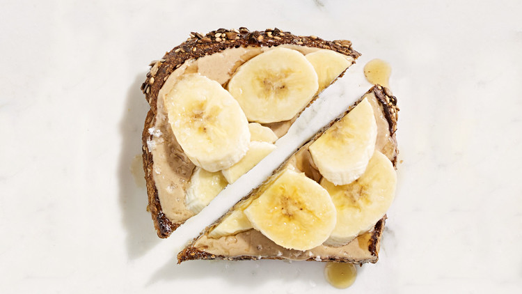 tahini banana maple syrup toast
