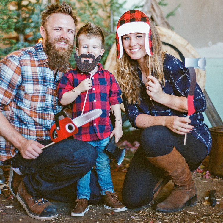eli lumberjack birthday family with party props