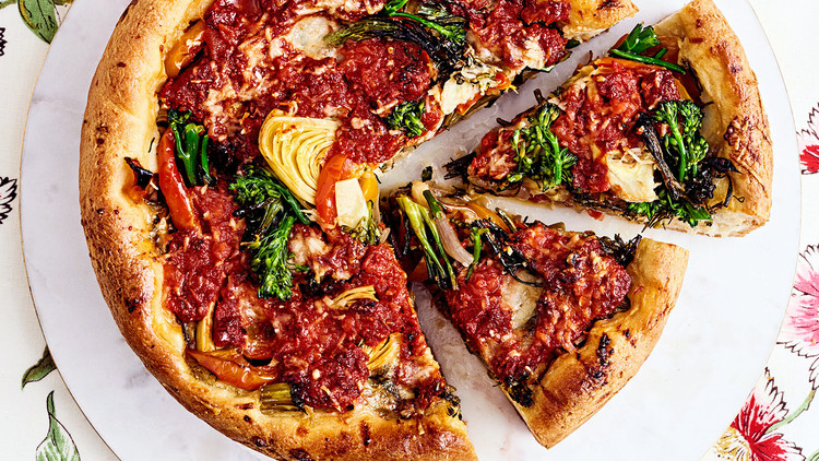 vegetable lovers' deep-dish pizza