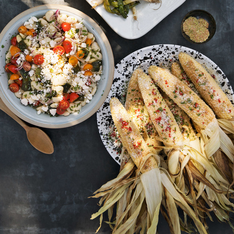 Grilled Corn With Chile-Lime Salt Lima-Bean Salad With Roasted Poblanos and Queso Fresco