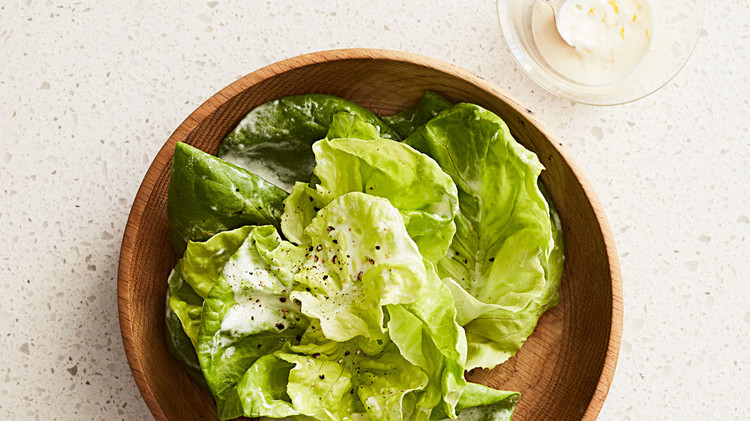 Stacked Bibb Lettuces with Lemon Cream