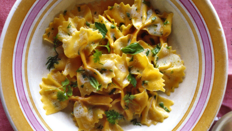 carrot farfalle with lemon and herbs