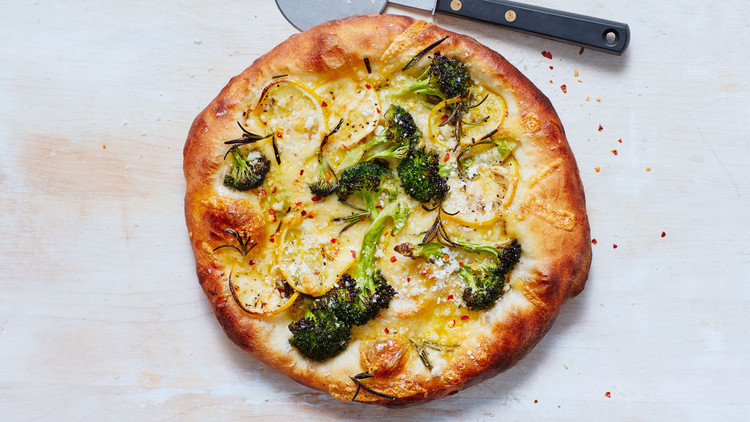 Broccoli, Lemon, and Gouda Pizzas recipe