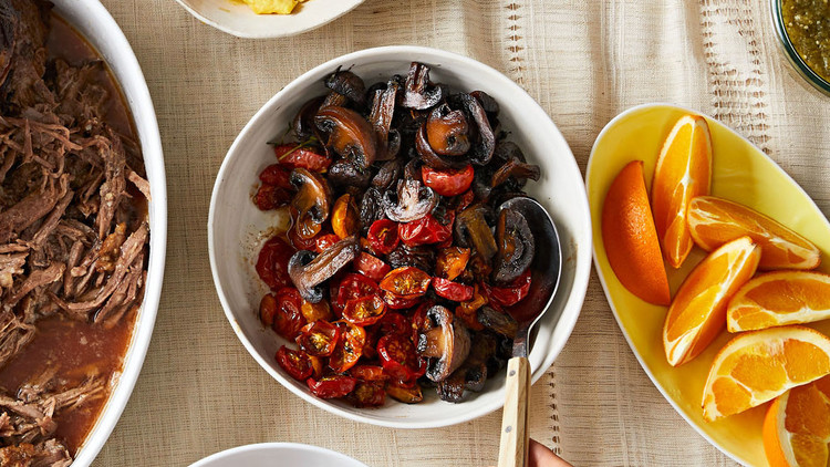 roasted tomatoes and mushrooms