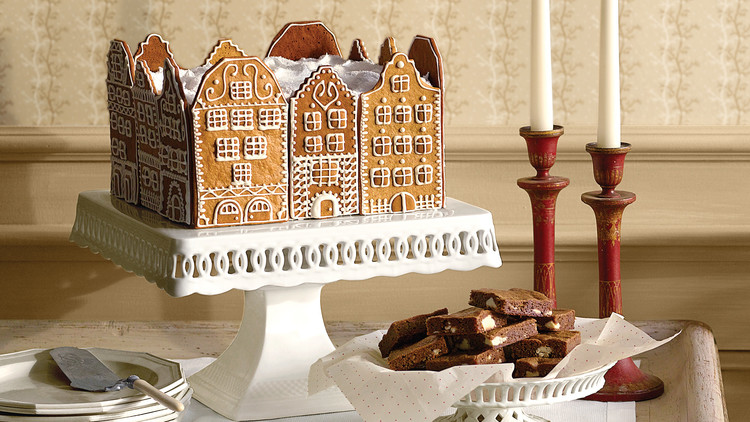 gingerbread town square cake