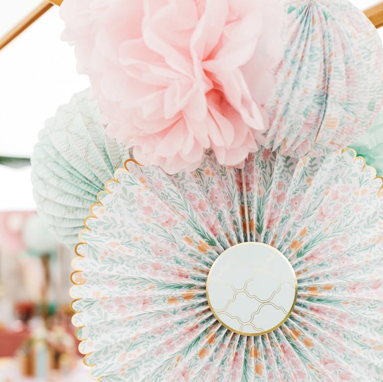 mint blush baby shower hanging paper pinwheel decor