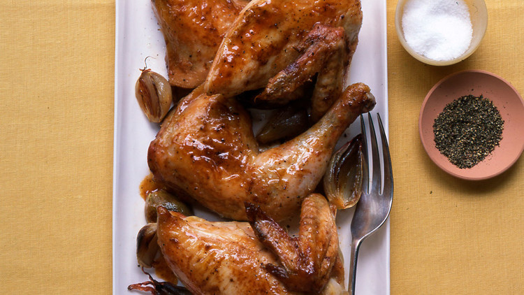 Roasted Quartered Chicken and Shallots
