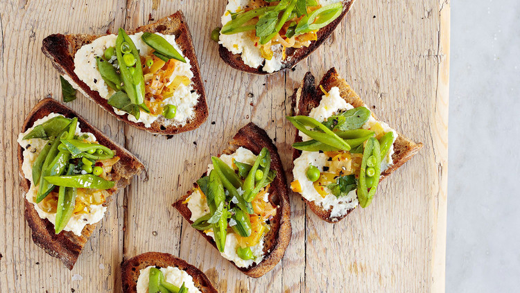 Snap-Pea and Melted-Leek Tartines