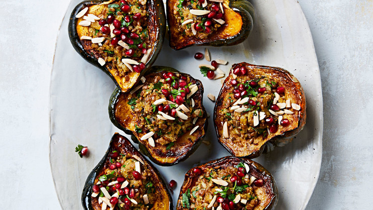 stuffed acorn squash mixed grain stuffing