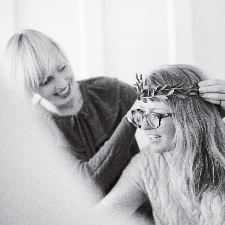 women with greenery headband