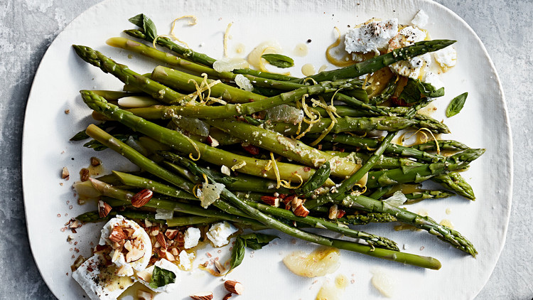 Asparagus with Almonds, Goat Cheese, and Basil