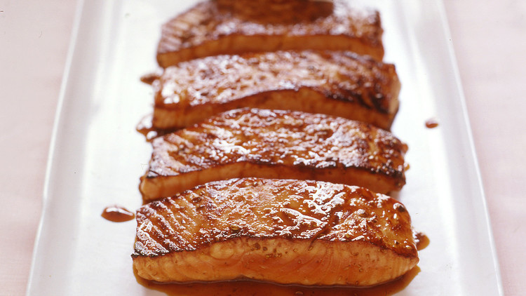 salmon with honey coriander glaze