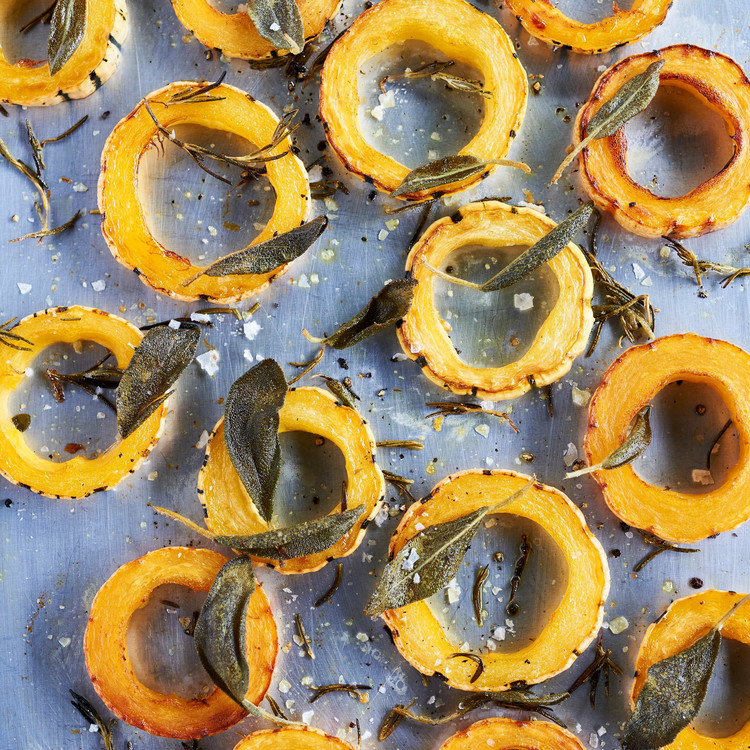 roasted delicata squash with garden herbs