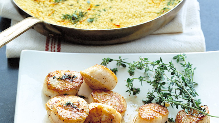 sea scallops with sherry and saffron couscous