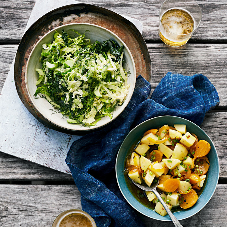 cabbage and cucumber slaw and potato beet salad