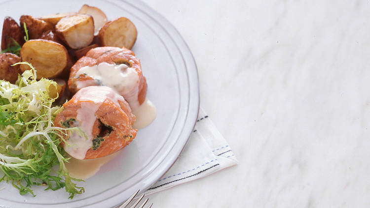Herbed Salmon Roulades with Lemon Beurre Blanc