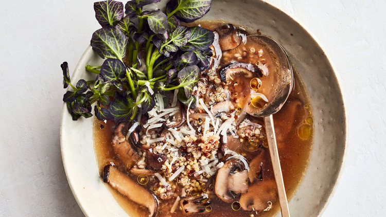 super grain soup with watercress and mushrooms