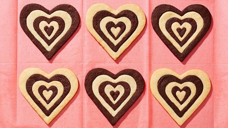 Dark- and White-Chocolate Shortbread Hearts