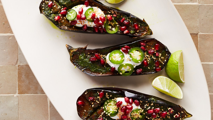 eggplant with herbs and yogurt