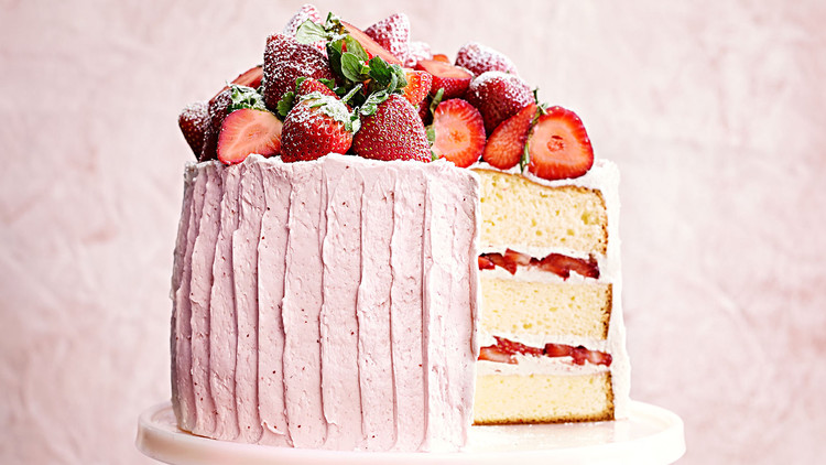 Vanilla Sponge Cake with StrawberryMeringue Buttercream Recipe