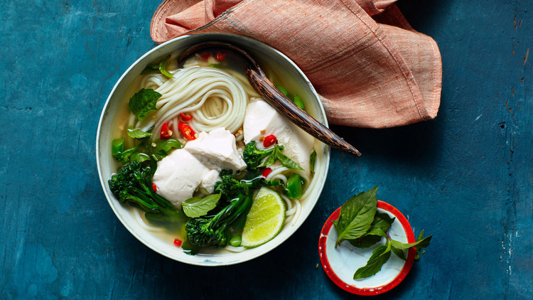 Ginger-Lemongrass Broth with Noodles, Silken Tofu, and Broccoli recipe