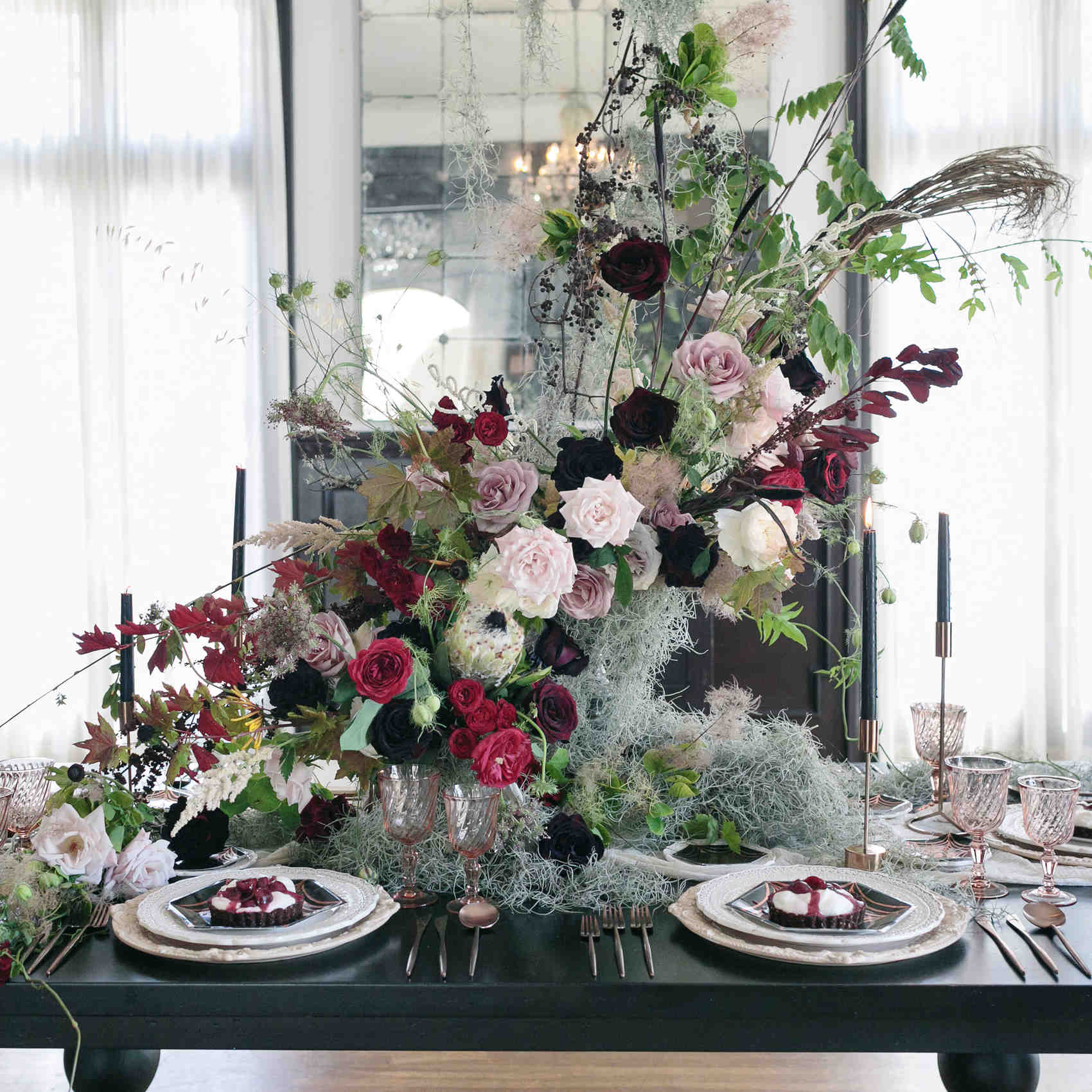 Ideas For Dinner Parties Part - 38: Halloween Rose Gold Dinner Table Setting Centerpiece